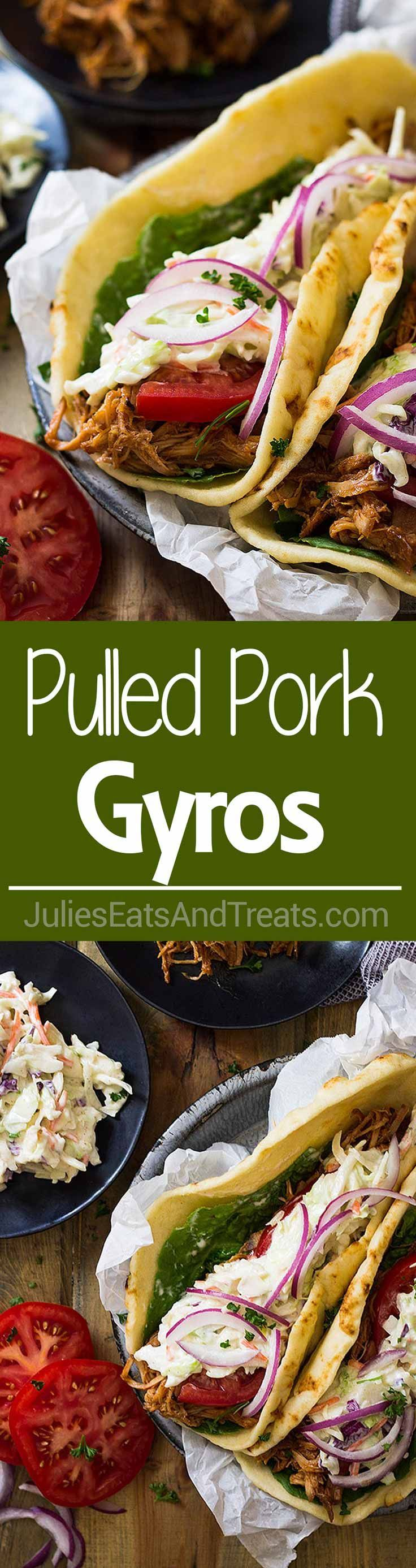 BBQ Pulled Pork Gyros ~ Filled with BBQ Pulled Pork, Creamy Coleslaw, Tomato, Onion and All Wrapped in a Soft Flatbread. Perfect for An Easy Lunch or Dinner! ~ http://www.julieseatsandtreats.com