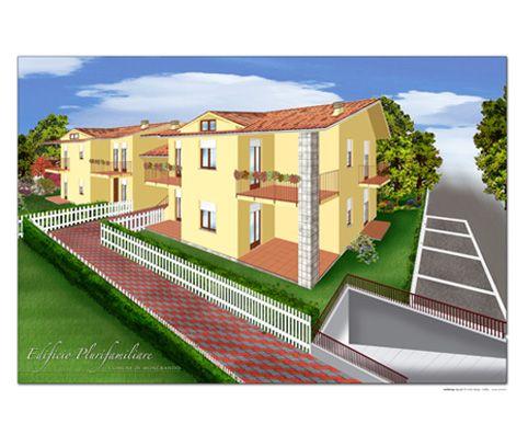 Rendering Edificio Plurifamiliare Cliente: Studio Due-Ci - Impresa immobiliare. Tipo di lavoro: Disegni realizzati a mano