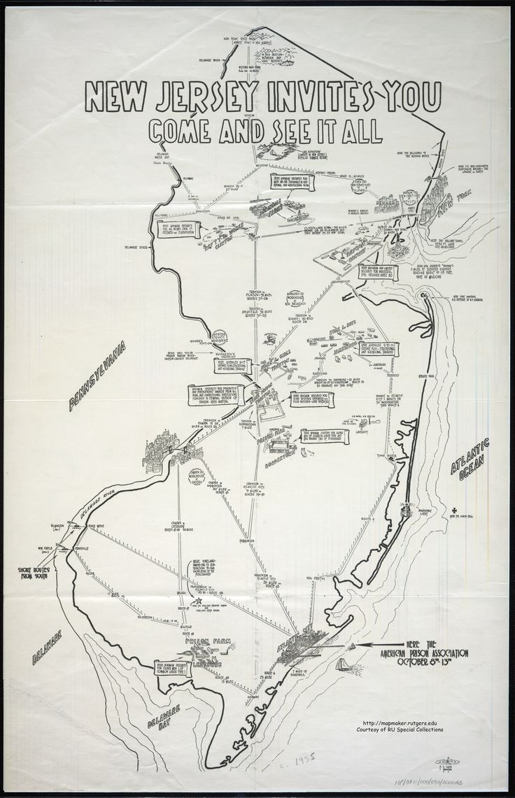 """Tourist Map of NJ showing prisons and juvenile delinquent """"homes."""""""