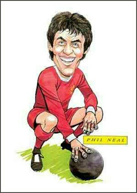 Phil Neal of Liverpool in cartoon mode.