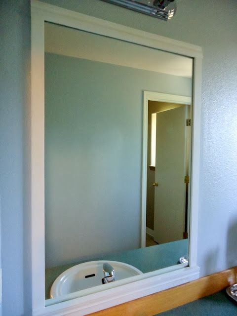 How to frame bathroom mirrors with scrap trim Renovating Creative