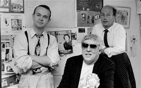 Ian Hislop in the Private Eye offices in 1989 with Peter Cook, the magazine's major shareholder until his death in 1995, and its managing director Dave Cash