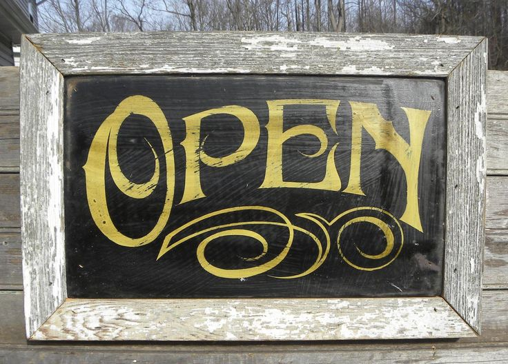 Antique Wood Signs | Open Sign, hand painted, faux vintage, wooden sign, antique-style ...