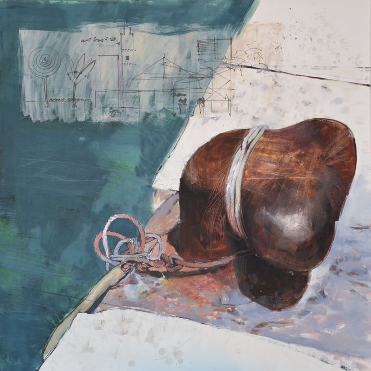 oil on canvas-1250x1250-bollard korchula Croatia with copper rope