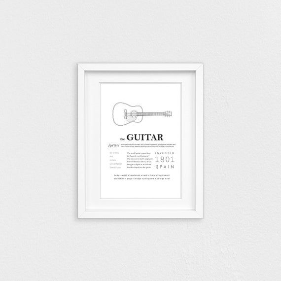 Guitar Printable Wall Art Guitar Facts Guitar History Etsy Printable Wall Art Wall Printables Music Wall Decor