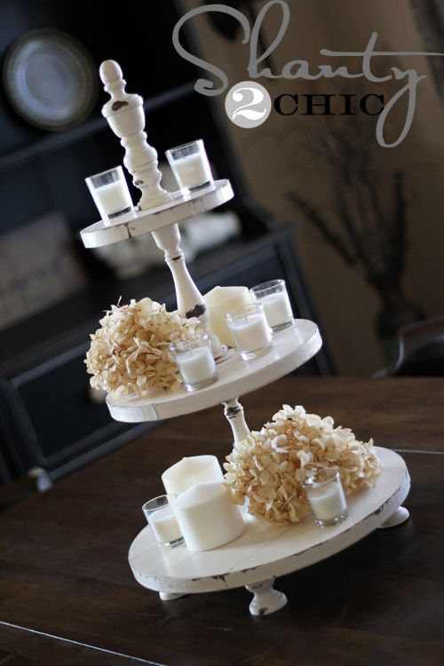 DIY:  Cupcake Tower - wood candlesticks, wood, knobs & paint!