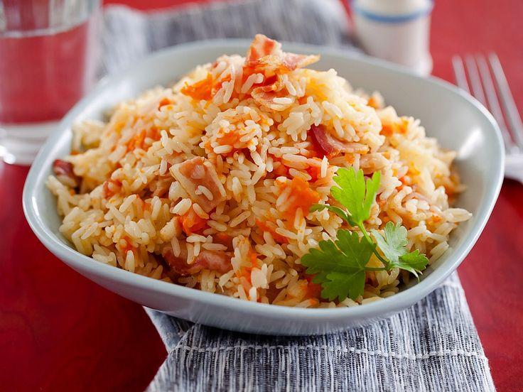 Рецепт: Рисовая каша с тыквой и беконом в мультиварке