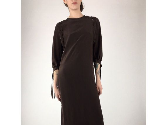 Vintage Dress Deep Brown Covered Button Side Slit by byfrances