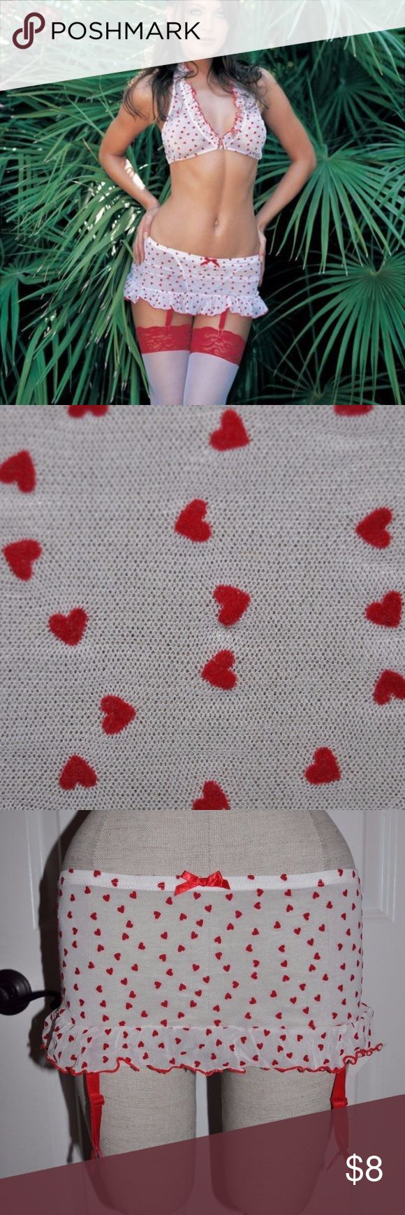LEG AVENUE Mesh Flocked Heart Garter Belt Skirt A3 size S/M condition: gently used color: white/red  flocked hearts sheer mesh ruffle hem attached garters **skirt only. no top, stockings or panties @cjrose25  Valentine's day Leg Avenue Intimates & Sleepwear