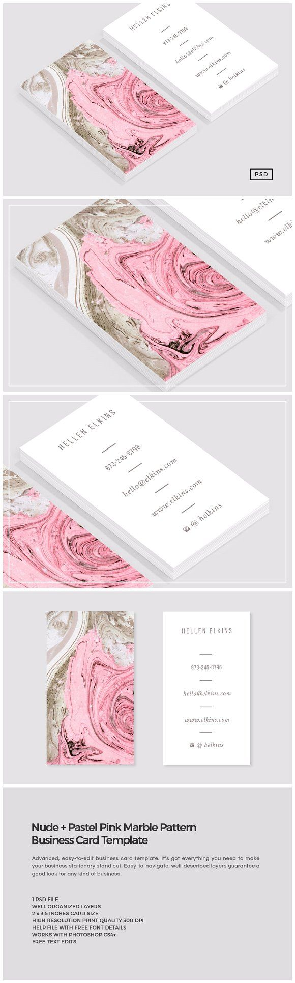 Nude + Pink Marble Business Card Template by The Design Label (MeeraG), via Creative Market.