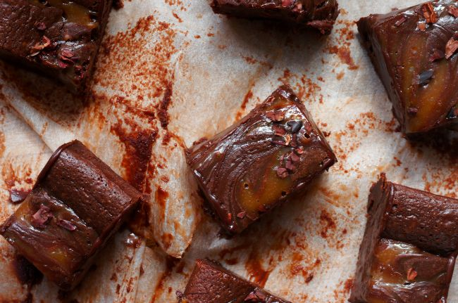 Poires au Chocolat: Salted Caramel Brownies inspired by Paul A. Young: Brownies Bit, Chocolate