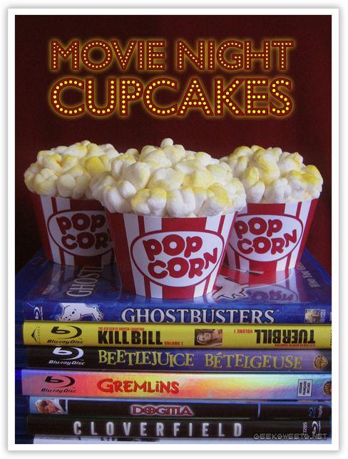 Movie NightCupcakes: Popcorn Cupcake, Night Giveaways, Cupcake Wrappers, Movies Cupcake, Party Cupcake, Geek Sweet, Movies Night Cupcake, Outdoor Movies Night, Art Cakes