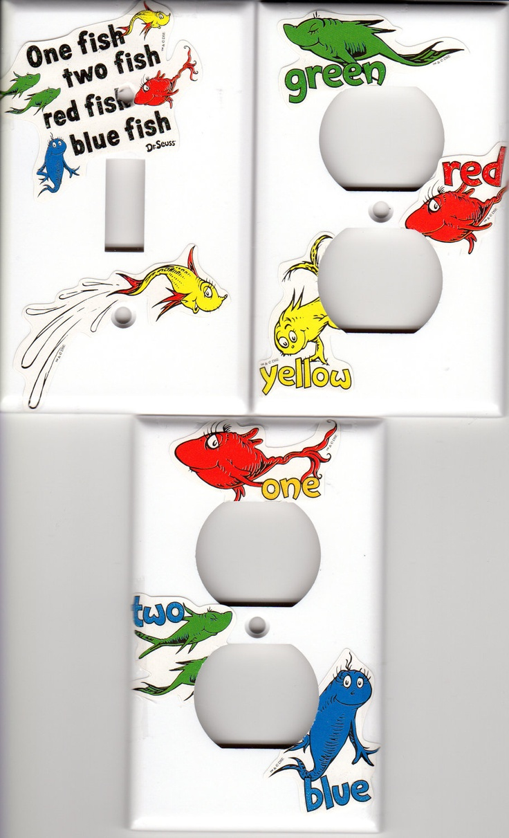 DR SEUSS Light Switch and 2 Outlet Plate Covers Set DIY One Fish Two Fish