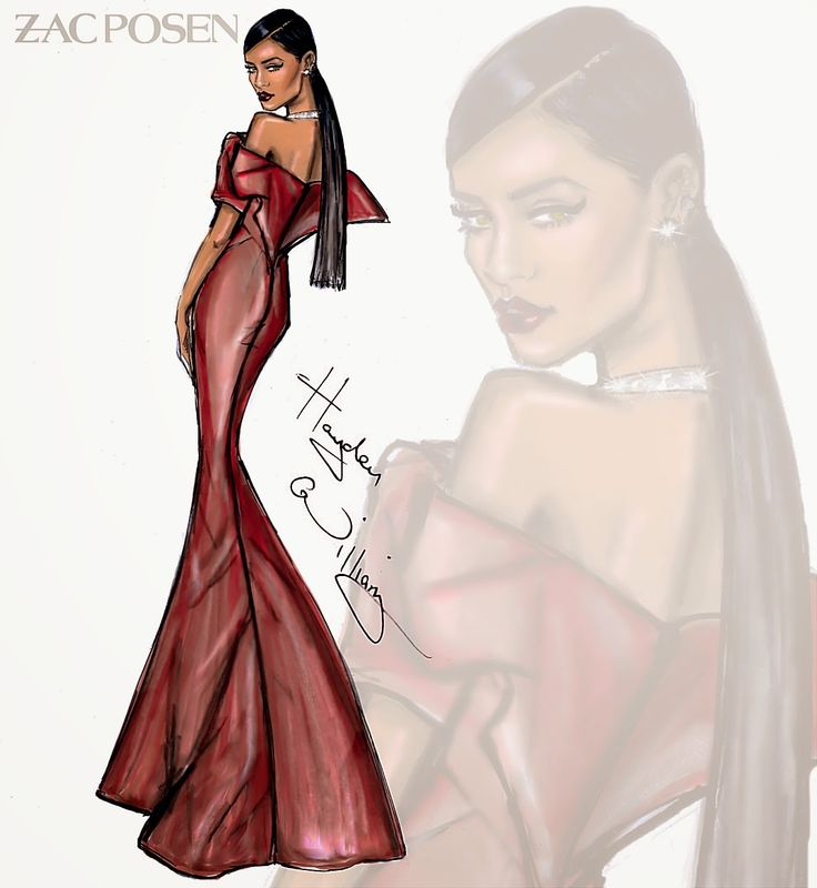 Hayden Williams Fashion Illustrations: Rihanna in Zac Posen for her Diamond Ball by Hayden Williams