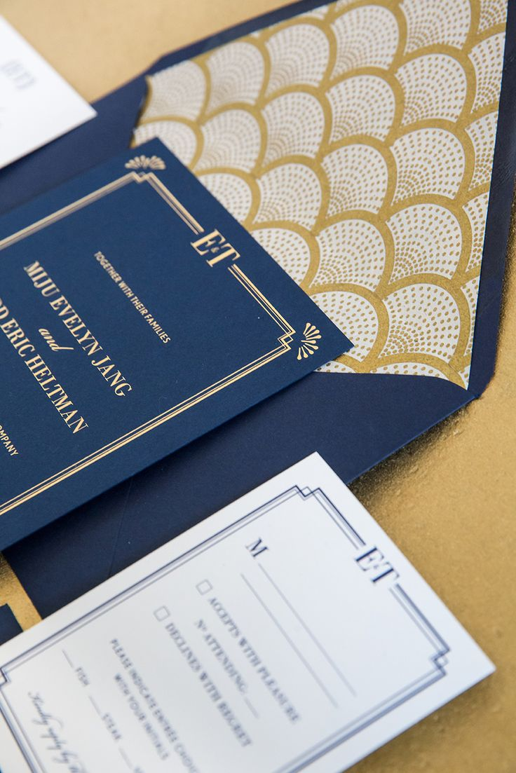 Gold Foil and Navy Art Deco Wedding Invitation Suite from Bonomo Paper Co.