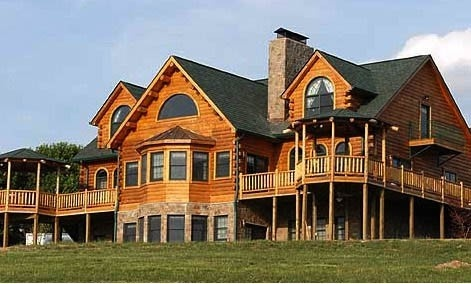 Love log homes and wrap around porches dream homes for Full wrap around porch log homes