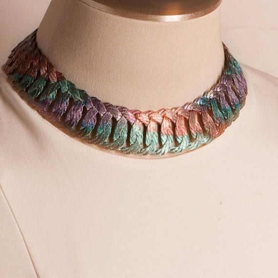 Vintage Woven Metal Multi Colored Choker Necklace Gift for