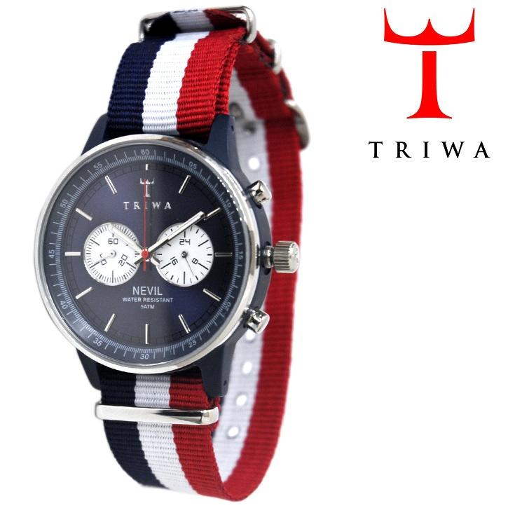 TRIWA リストウォッチ 腕時計 Le Bleu Nevil Blue ブルー×ホワイト×レッド 【送料無料】 wc-triwa-051