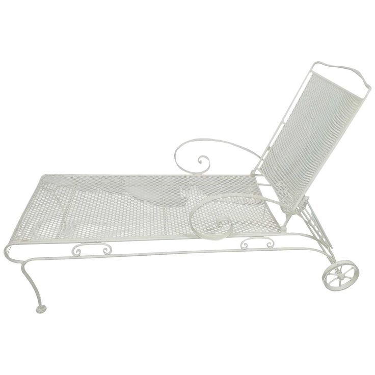 russell woodard iron mesh steel chaise lounge circa