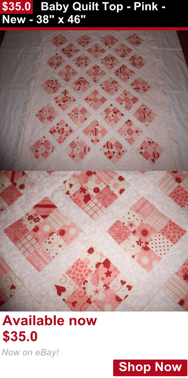 Quilts And Coverlets: Baby Quilt Top - Pink - New - 38 X 46 BUY IT NOW ONLY: $35.0