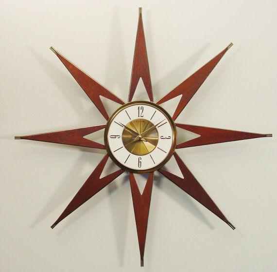 Vintage Elgin Starburst Clock MidCentury Modern by ClubModerne, $225.00