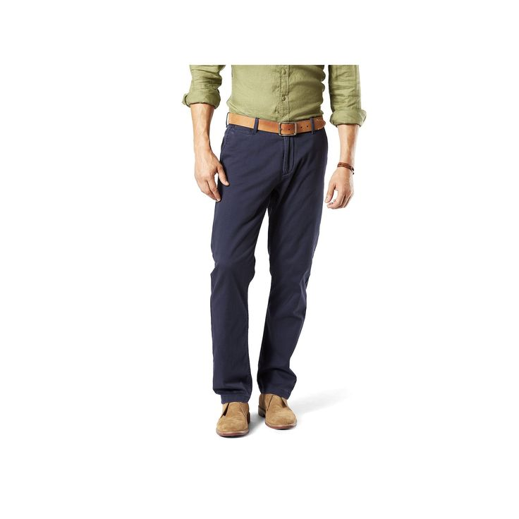 Men's Dockers Athletic-Fit Stretch Washed Khaki Pants, Size: 33X32, Blue (Navy)