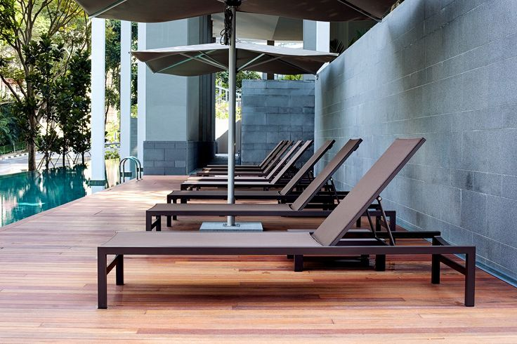 Forum lounger by Tribu in earth brown colours    www
