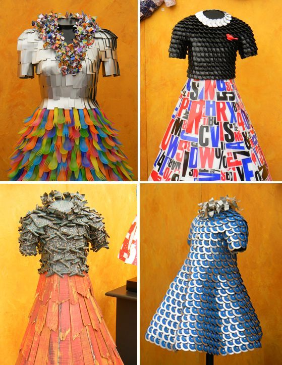 Resultado de imagen para vestidos reciclados con cd y mallas raschel