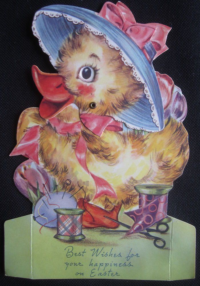 Vintage Happy Easter Greeting Card Stand-up Duck with Moving Head