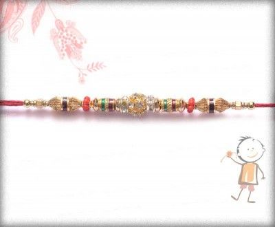 Send trendy and #designer #rakhi for your brother on this #Rakhi #Festival. Send #online Rakhi. Traditional #Diamond Ball and Golden Beads Design #Rakhi,surprise your loved ones with roli chawal, chocolates and a greeting card as it is also a part of our package and that too without any extra charges.  http://www.bablarakhi.com/send-designer-rakhi-online/793-send-traditional-diamond-ball-and-golden-beads-design-rakhi-online.html
