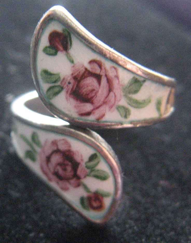 Sterling & Enamel Adjustable Ring Handpainted Pink Roses! Shabby Chic! 5 1/2 size