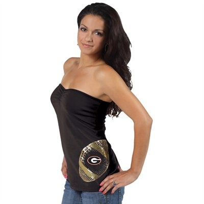 Georgia Bulldogs Ladies Black Glitter Football Tube Top