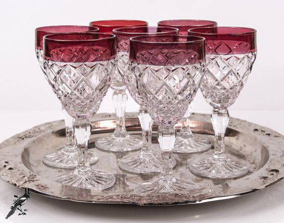 Set Of 7 Diamond Pattern Ruby Flash Rim Wine By