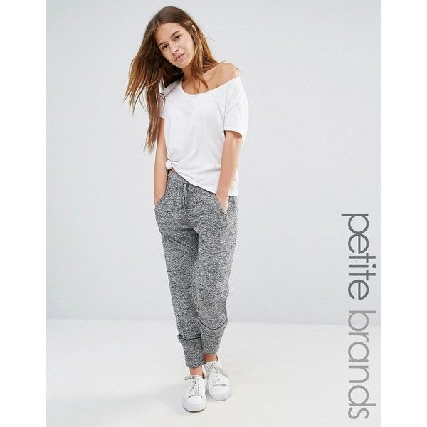 Vero Moda Petite Tie Front Joggers (470 MXN) ❤ liked on Polyvore featuring activewear, activewear pants, grey, petite, petite sportswear, vero moda, petite activewear pants and petite activewear