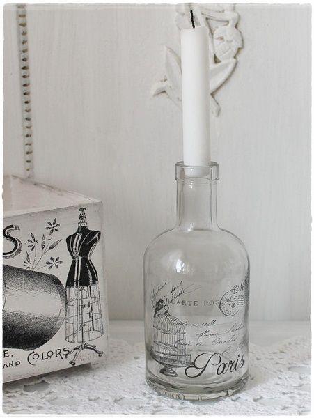 shabby Flasche  Vase Kerzenständer von Villa-Vintage-Chic auf DaWanda.com