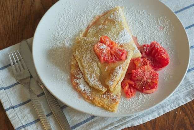 Rosewater Crêpes with Blood Orange Compote | Community Post: 16 Luscious Crêpe Recipes To Celebrate Pancake Day