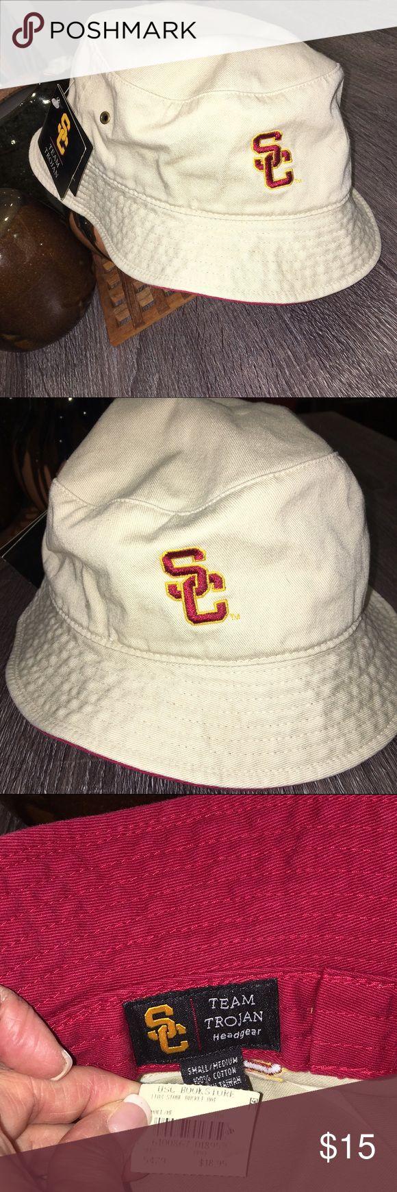 NEW USC bucket hat Cute Team Trojan khaki bucket hat! Red lining inside headband area. 100% cotton. BRAND NEW NEVER WORN, beautiful, crisp and fresh. Fight On!! USC Accessories Hats