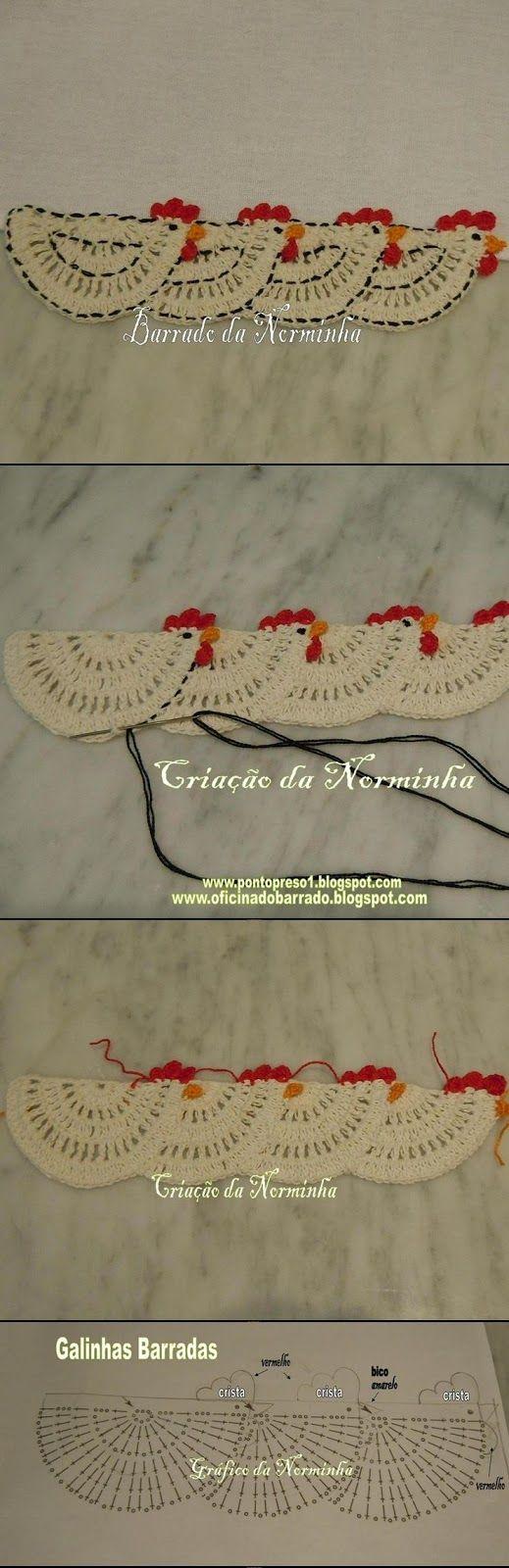 Luty Artes Crochet: Barrados de Galinha em crochê + Gráficos.