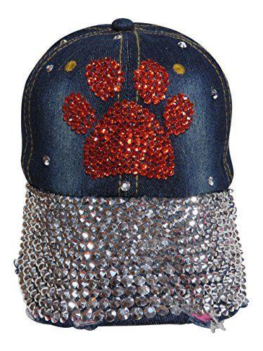 c8971dcb6fe Spirit Caps Bling Paw Print Baseball Cap with All Bling Bill Hat Mascot  Sports