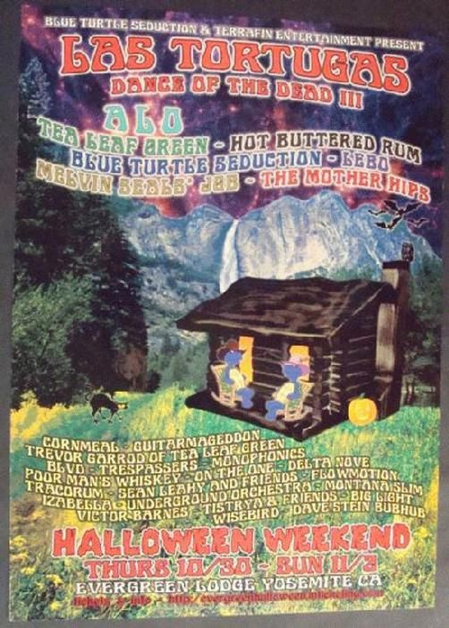 Original concert poster for Los Tortugas Dance of the Dead III in Yosimite, CA in 2010. This years line up included Animal Liberation Orchestra, Tea Leaf Green, Hot Buttered Rum, Cornmeal, The Mother Hips and many more. 12.75 x 17.75 inches on card stock.