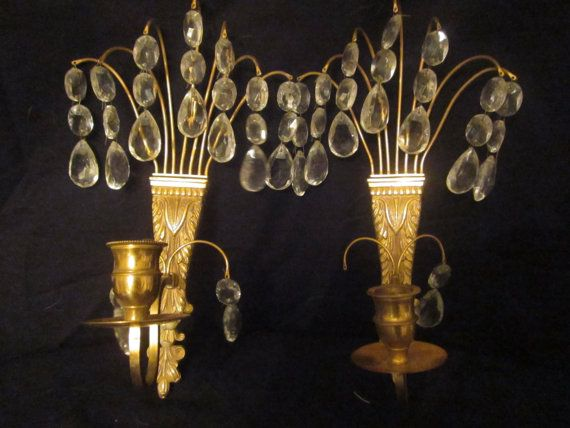 Vintage Antique Brass and Crystals Candle Wall Sco…