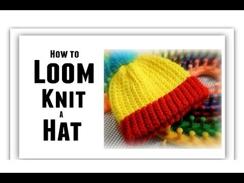 Loom Knitting - Hat for Beginners EASY - Covers: Loom Size, Make Brim, Change Color - All Sizes