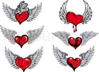 new school heart with wings tattoo - Google Search