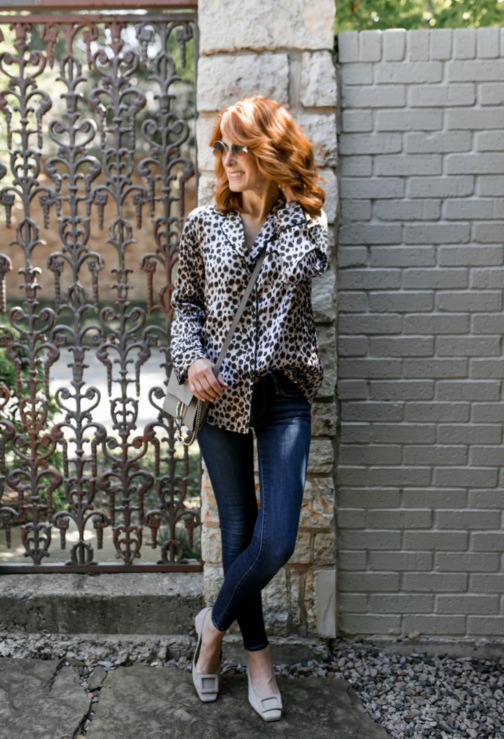 Club Monaco Leopard Pajama Top- Silk Leopard Top- Breast Cancer Awareness