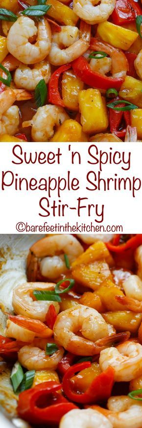 Sweet and Spicy Pineapple Shrimp Stir Fry - get the recipe at barefeetinthekitchen.com