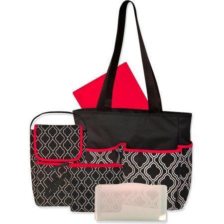 Baby Essentials Geometric 3 Piece Diaper Bag Set with Bonus Bottle Bag