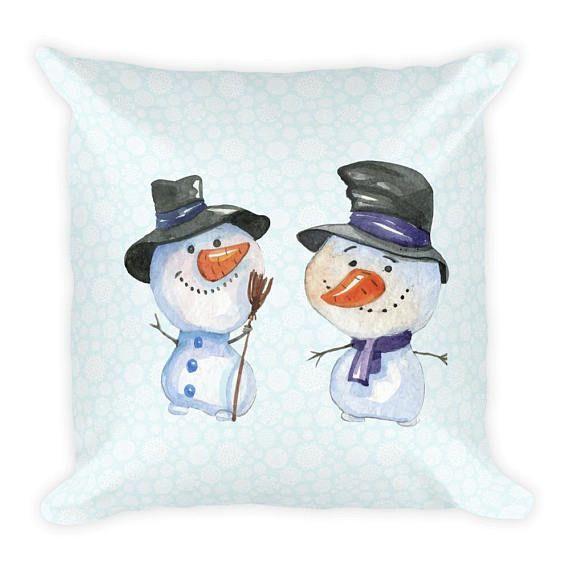 18 x 18 Snowmen in the Snow Couch Decor Stuffed