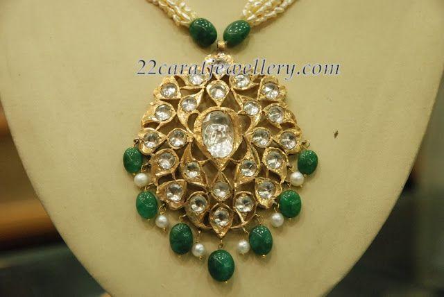 Uncut Diamond Locket with Emerald Drops - Jewellery Designs
