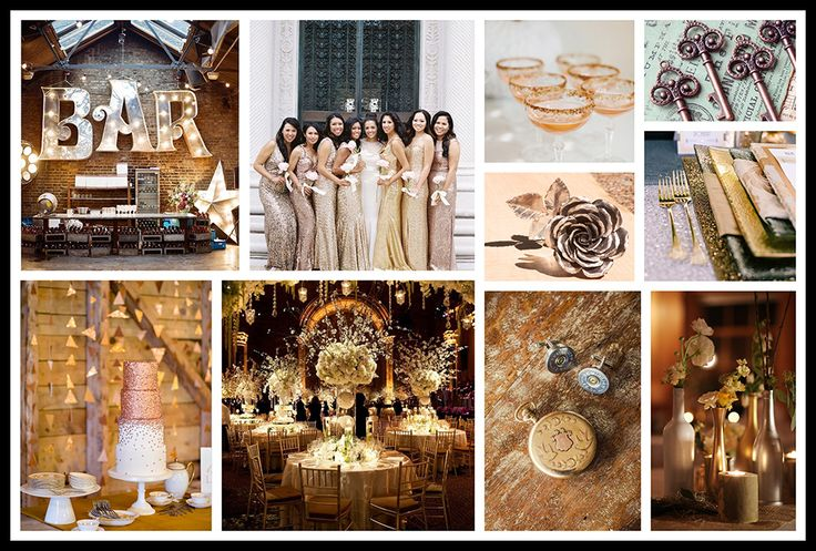 Glamour's Sparkle Wedding Color Palette - which features Gold, Silver, Copper and Bronze. Love the elegant sparkle with a touch of rustic. A unique and exciting color scheme theme wedding. Very Luxurious!