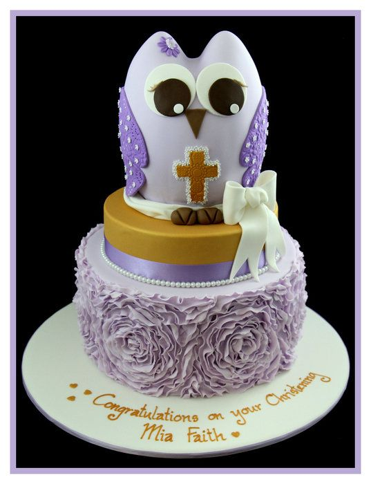 Christening cake with rose ruffle effect and owl by InspiredbyMichelle
